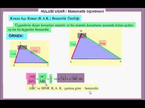 8.Sınıf Matematik / ÜÇGENLERDE BENZERLİK / Hulusi Ugar / Matematik Öğretmeni / Video Ders