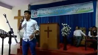 Seiminlen Doungel singing Gospel song in Church- Bengaluru Kuki Worship Service