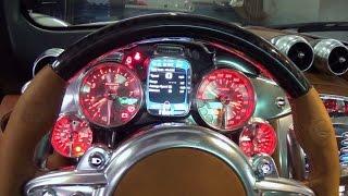 getlinkyoutube.com-Pagani Huayra Start up and Drive Supercar at Lamborghini Miami top speed 217 miles per hour V12  AMG