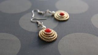 getlinkyoutube.com-How to make dome shaped spiral earrings - wire jewelry making series