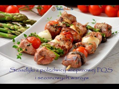 Szaszłyki z polędwicy wieprzowej i sezonowych warzyw
