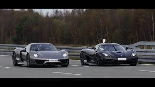 getlinkyoutube.com-[4k] Koenigsegg Agera R vs Porsche 918 Spyder Weissach Package 50-320+ km/h