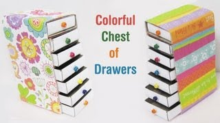 getlinkyoutube.com-How to make a colorful mini chest of drawers using recycled materials - EP - simplekidscrafts
