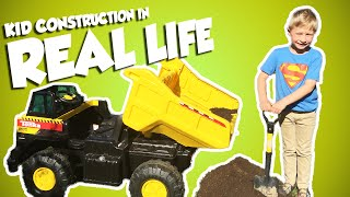 getlinkyoutube.com-KID CONSTRUCTION In Real Life with Tonka Dump Truck Power Wheels Style Video