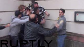 getlinkyoutube.com-Turks vs Kurds in brutal Frankfurt street-fight: Knives & bottles brandished