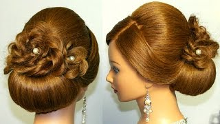 getlinkyoutube.com-Wedding prom hairstyle for long hair, updo tutorial with braided flowers