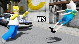 getlinkyoutube.com-FINN THE HUMAN VS HOMER SIMPSON - EPIC BATTLE - GTA IV