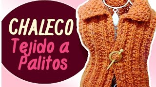 CHALECO TEJIDO A PALITOS en punto falso ingles y punto arroz / (Eng Sub)Vest tissue Sticks | Canela♥