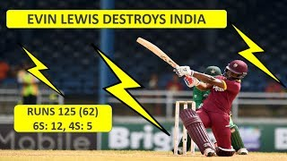 India vs West Indies T20 Highlights | 09-July-2017 | Evin Lewis destroys India 125 (62)