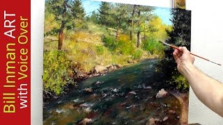 getlinkyoutube.com-How to Paint a Colorado River and Trees [with Art Instruction] by Bill Inman - Fast Motion-
