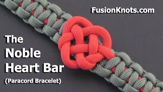 getlinkyoutube.com-How to Make a Noble Heart Bar (Paracord) Bracelet by TIAT