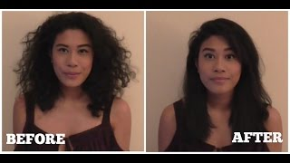 getlinkyoutube.com-Hair Straightening Brush by Apalus - Hair Review and Trial on very Curly Hair!