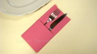 getlinkyoutube.com-Servietten falten: Einfache Bestecktasche falten -Tisch decken originell