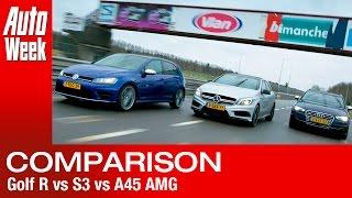 getlinkyoutube.com-VW Golf R vs. Audi S3 vs. Mercedes A45 AMG - English subtitled