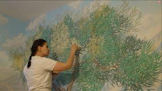 getlinkyoutube.com-Мастер класс Барельеф дерева/ роспись стен * Необычный декор стен своими руками*