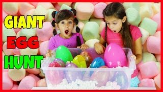 GIANT SURPRISE EGG HUNT IN MARSHMALLOW MADNESS  - Opening Toy Surprises - Disney Toys, Shopkins