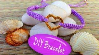getlinkyoutube.com-DIY Bracelet! Bracelet Making Tutorial with String and a Heart Charm