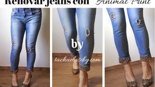 getlinkyoutube.com-Renovar unos vaqueros/jeans rotos con animal print