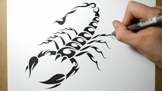 getlinkyoutube.com-How to Draw a Scorpion - Tribal Tattoo Design Style