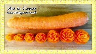 getlinkyoutube.com-Art In Carrot Show - Vegetable Carving Carrot Roses - Carrot Flowers Garnish