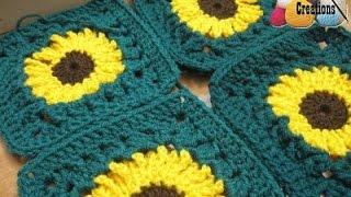 getlinkyoutube.com-Sunflower Granny Square REVISED - Crochet Tutorial
