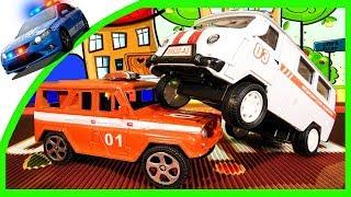 getlinkyoutube.com-Мультики про Машинки - Мир машинок - 2 серия: Спецмашины Пожарная, Полицейская и Скорая Помощь