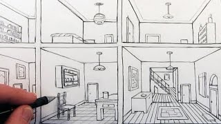 getlinkyoutube.com-How to Draw a Room in One-Point Perspective in a House