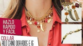 getlinkyoutube.com-Collar dorado con IG e hilo chino | VARIEDADES CAROL Kit 26397