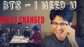 getlinkyoutube.com-BTS - I NEED U (Vocal & Rap Line change roles) REACTION (SUGA IS SO HILARIOUS!!)