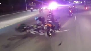 getlinkyoutube.com-POLICE CHASE Motorcycle Messing With COPS Street Bike CRASH ACCIDENT Running From The COP Helicopter