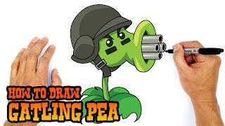 getlinkyoutube.com-How to Draw Gatling Pea (PvZ)- Kids Art Lesson