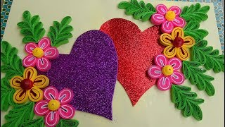 getlinkyoutube.com-☑️Paper Quilling ⏩ How to make Beautiful Quilling 💕Heart\Love design Greeting Card