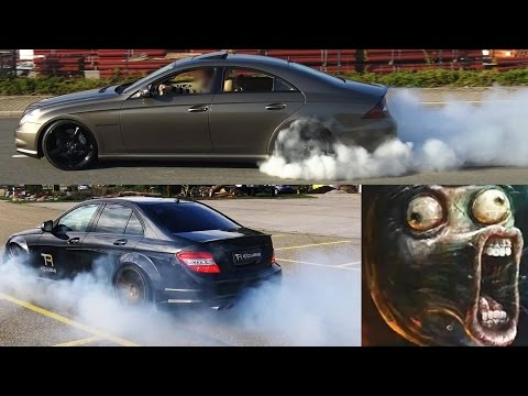 Mercedes C63 AMG vs Mercedes CLS 55 AMG - 0-200 Acceleration Sound compare Onboard Autobahn