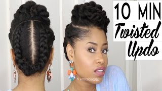 getlinkyoutube.com-THE 10 MINUTE TWISTED UPDO | Natural Hairstyle