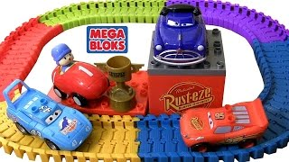 getlinkyoutube.com-Pocoyo wins Piston Cup Race MegaBloks CARS 7794 Playset Disney Pixar Cars Swiggle Traks Racetrack