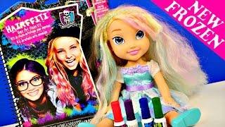 getlinkyoutube.com-Frozen Hairffiti Monster High Color Hair Art Studio Elsa Styling Doll by Disney Cars Toy Club