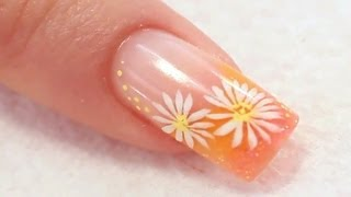 getlinkyoutube.com-Colour French Acrylic Nail with Painted Daisies Tutorial Video by Naio Nails