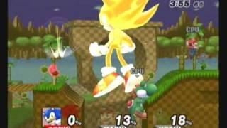 getlinkyoutube.com-Brawl Hacks - Giant Growing Sonic/Super Sonic v.s. Mario and Yoshi