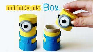 getlinkyoutube.com-DIY crafts: MINIONS BOX from cardboard tube - Innova Crafts