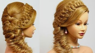 getlinkyoutube.com-Hairstyles for long hair tutorial. 4 Strand with Fishtail Braid.
