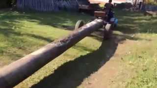 getlinkyoutube.com-Мини трактор из мотоблока тащит бревно