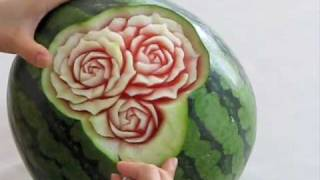 getlinkyoutube.com-スイカのカービング、バラの花 watermelon carving,rose