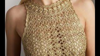 getlinkyoutube.com-Vestido Dorado Eva Tejido a Crochet