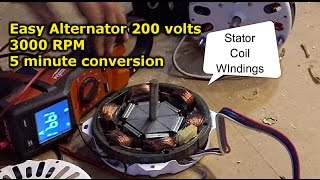 getlinkyoutube.com-Easy Alternator from electric motor conversion DIY neodymium magnet install