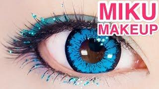 getlinkyoutube.com-SHINY Hatsune Miku COSPLAY MAKEUP tutorial by kawaii model Kimura U  木村優の初音ミクきらきらコスプレメイク