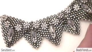 getlinkyoutube.com-Sarubbest: campione di collana con triangoli al Peyote - Collana con perline Sarubbest