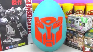 getlinkyoutube.com-Giant Transformers Play Doh Surprise Egg With Cool Toys from Minecraft Big Hero 6 and More!