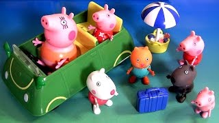 getlinkyoutube.com-Drive Peppa Pig to a Beach Party for Picnic with Holiday Sunshine Car George Nickelodeon Pique-Nique