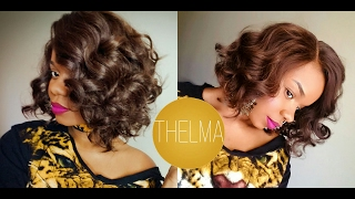 getlinkyoutube.com-$27 Light Yaki Wavy BOB! Sensationnel Empress Curved Part THELMA Lace Front Wig