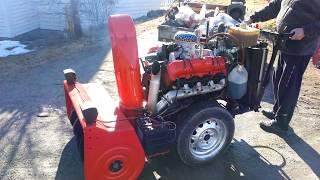 Firing up my Chevy V8 diesel snowblower